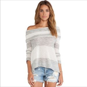 FP Lulu rugby grey white striped sweater cowl/off